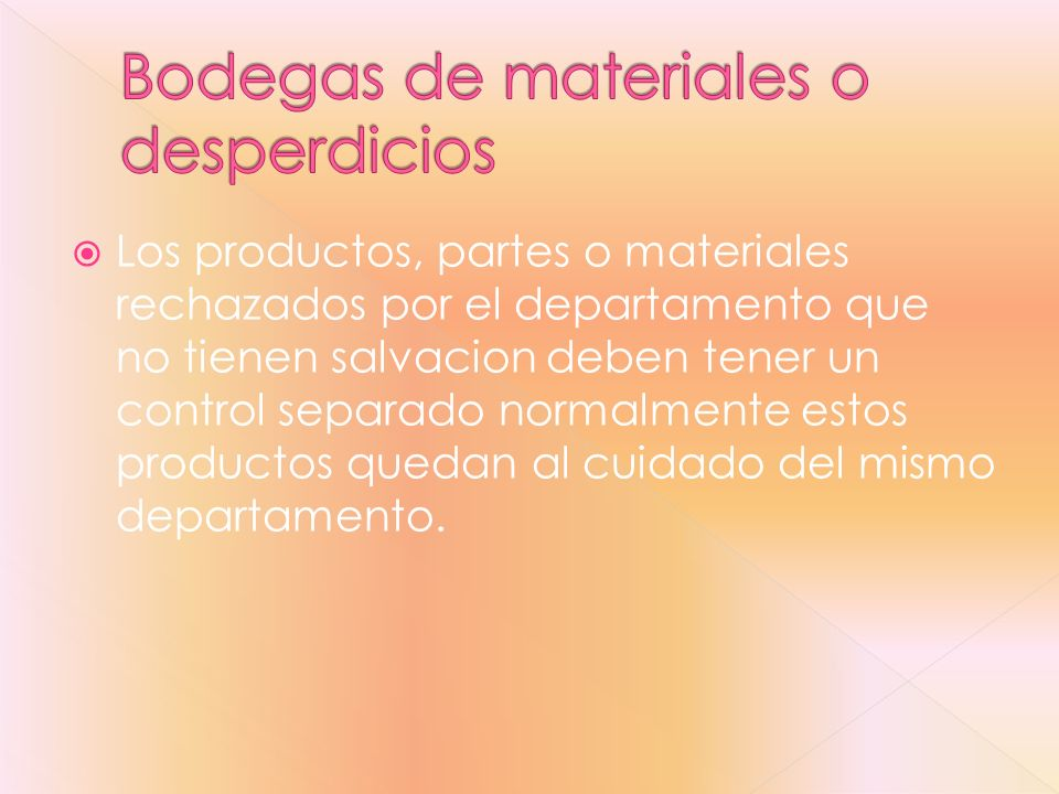Bodegas de materiales o desperdicios