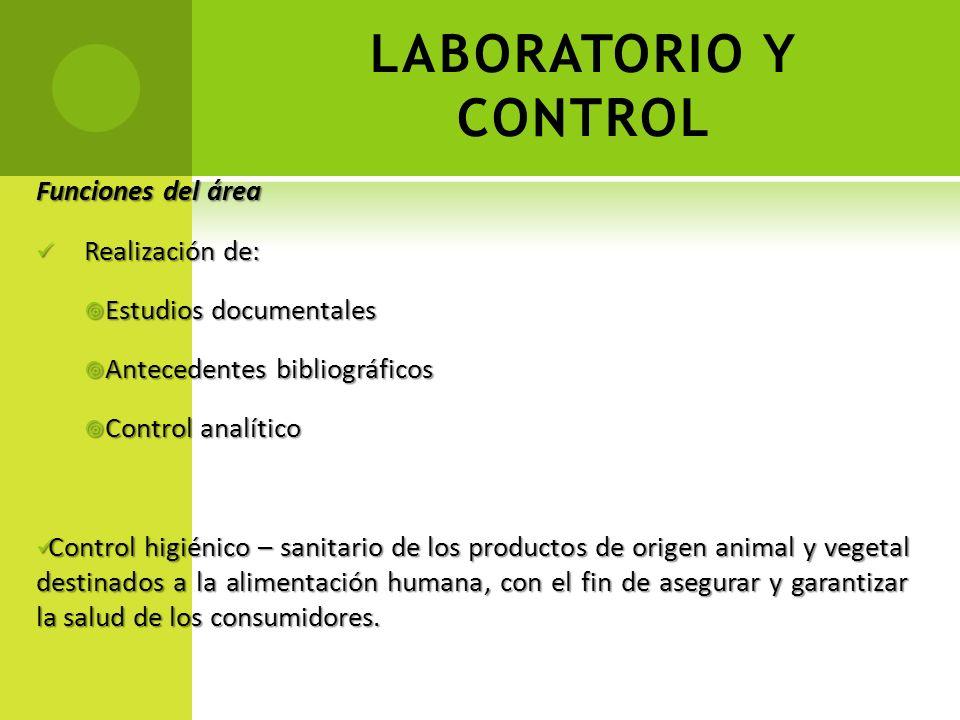 LABORATORIO Y CONTROL Funciones del área Realización de: