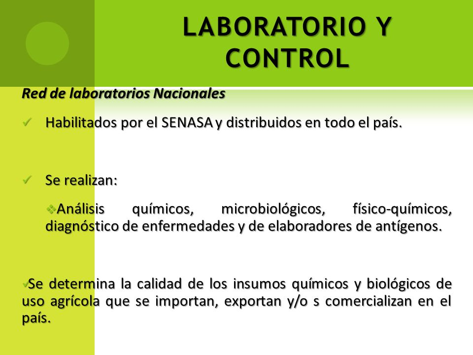 LABORATORIO Y CONTROL Red de laboratorios Nacionales