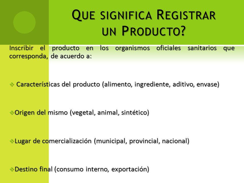 Que significa Registrar un Producto