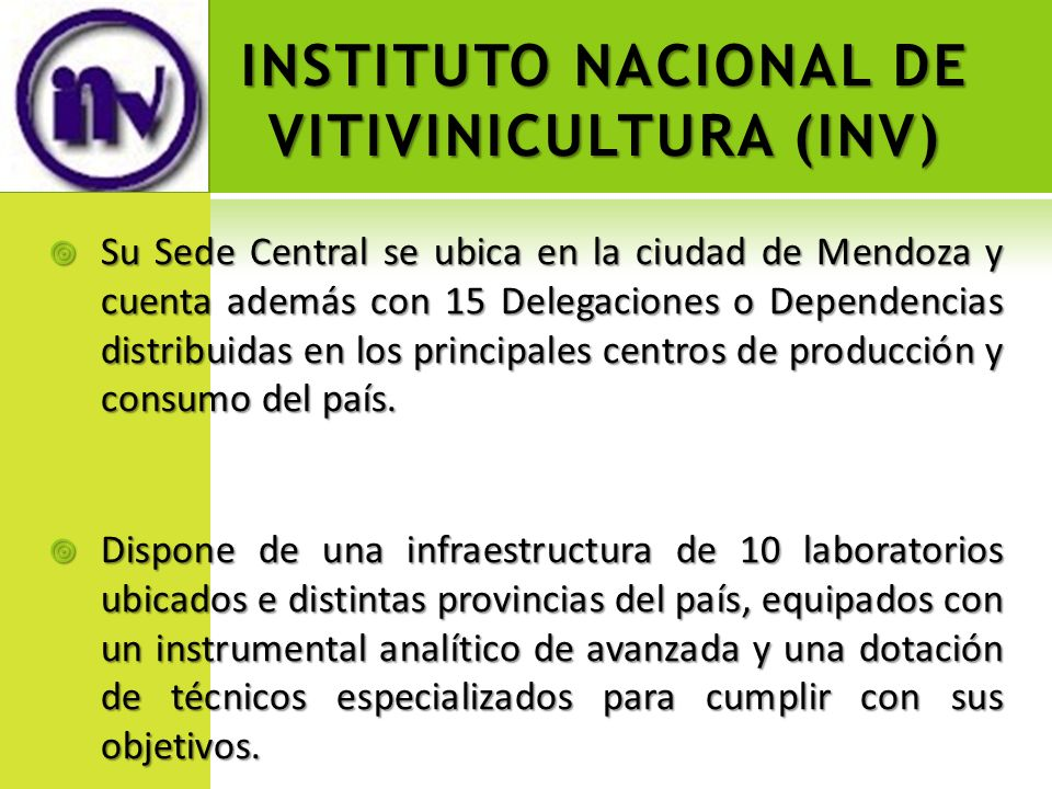 INSTITUTO NACIONAL DE VITIVINICULTURA (INV)