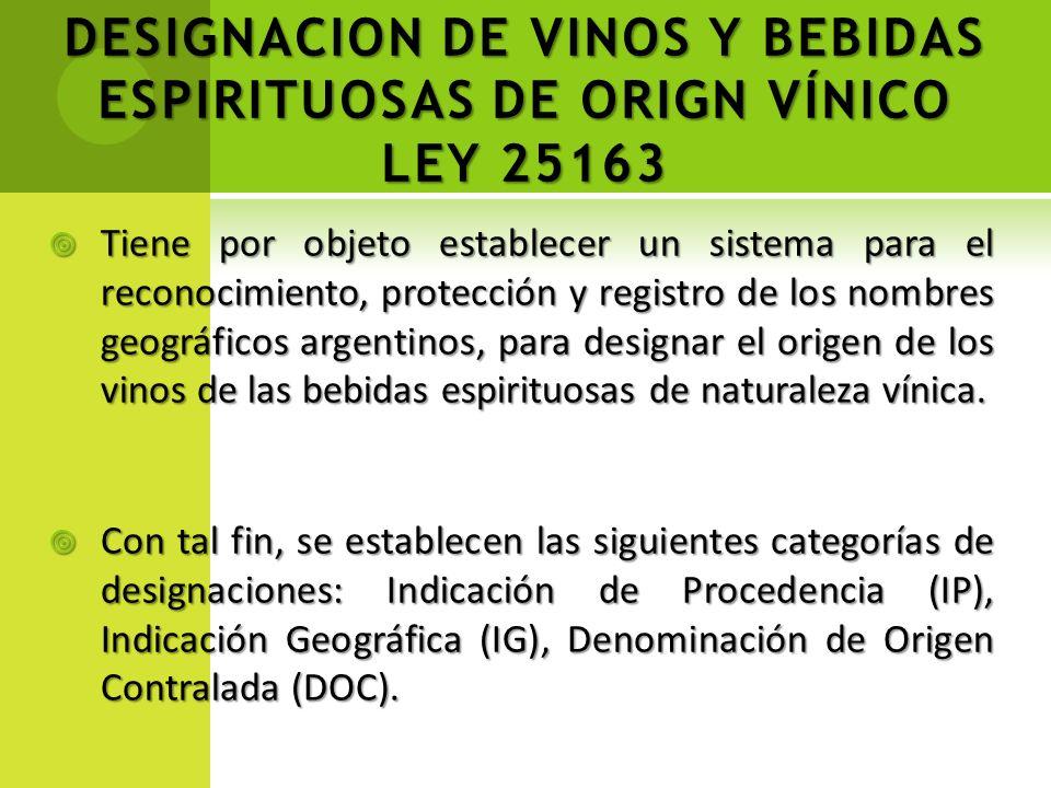 DESIGNACION DE VINOS Y BEBIDAS ESPIRITUOSAS DE ORIGN VÍNICO LEY 25163