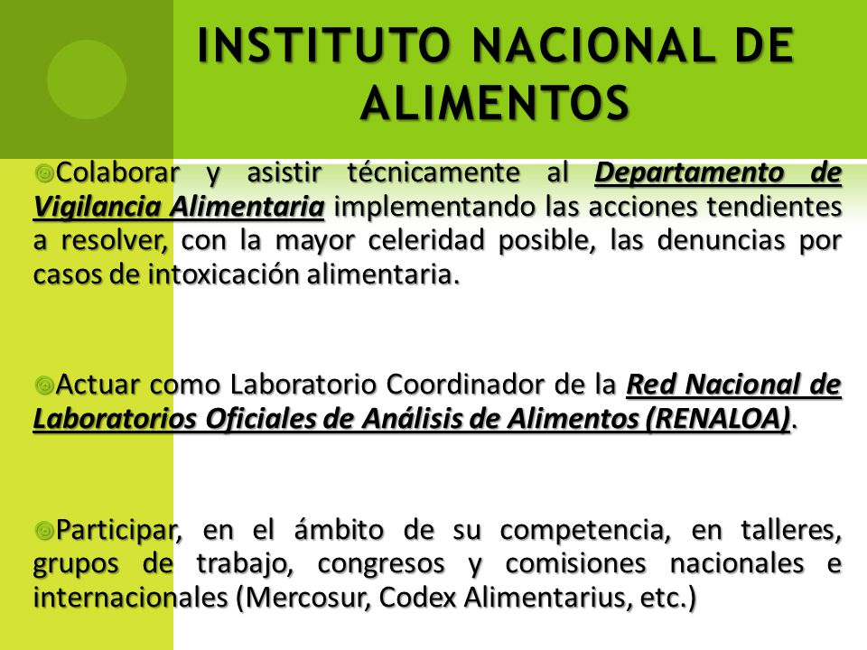 INSTITUTO NACIONAL DE ALIMENTOS