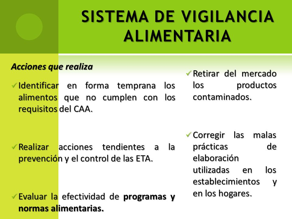 SISTEMA DE VIGILANCIA ALIMENTARIA