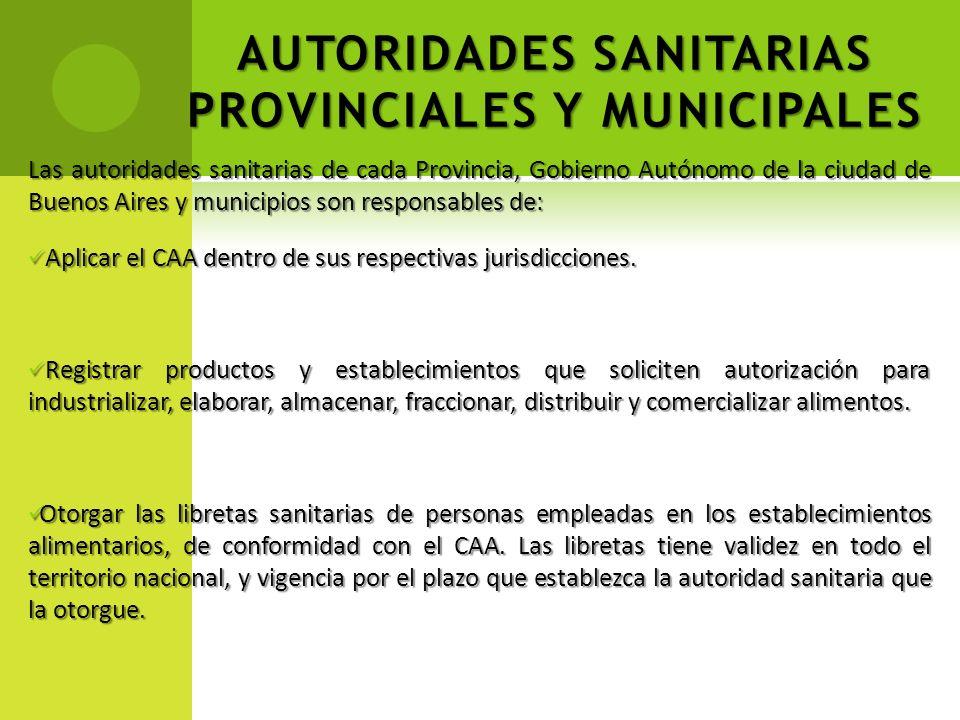 AUTORIDADES SANITARIAS PROVINCIALES Y MUNICIPALES