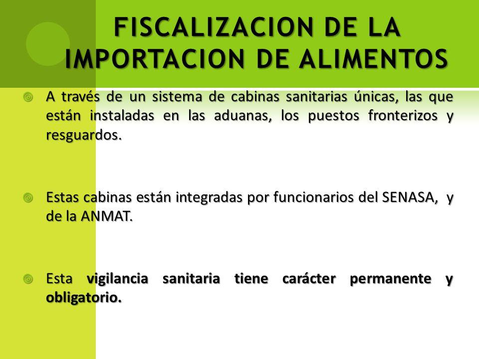 FISCALIZACION DE LA IMPORTACION DE ALIMENTOS