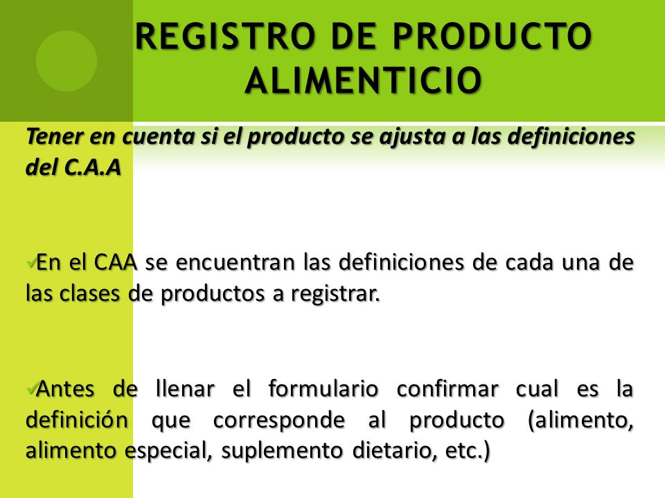 REGISTRO DE PRODUCTO ALIMENTICIO