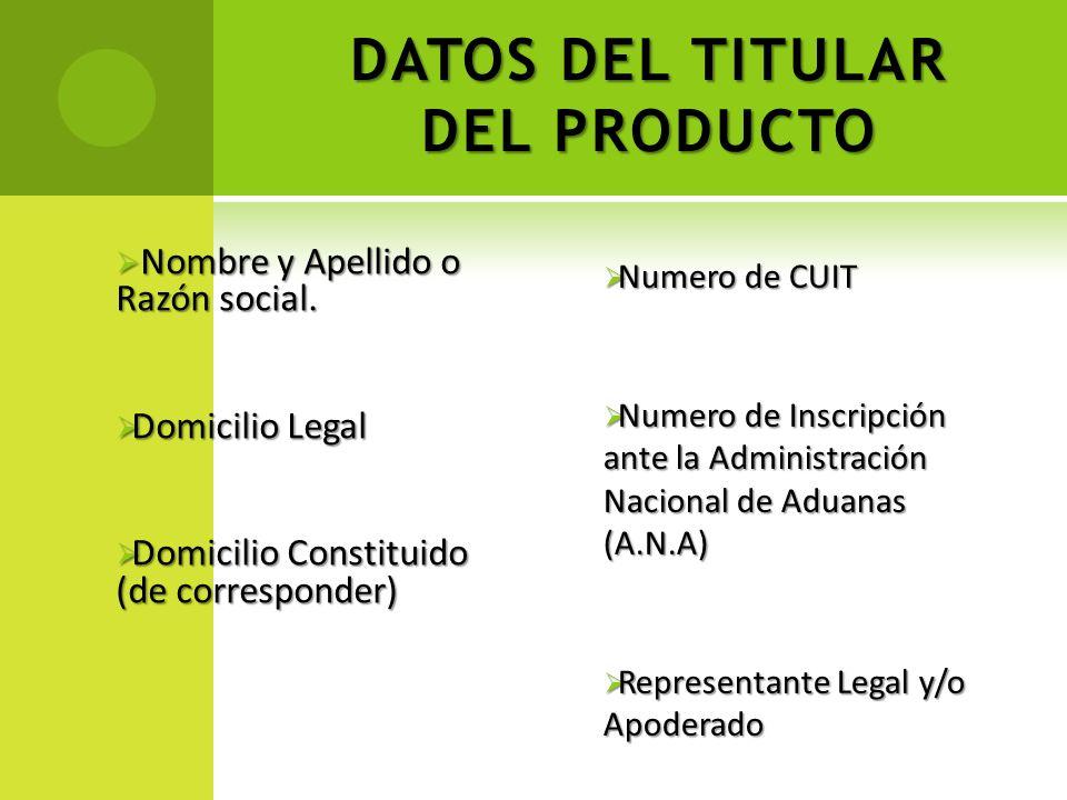 DATOS DEL TITULAR DEL PRODUCTO