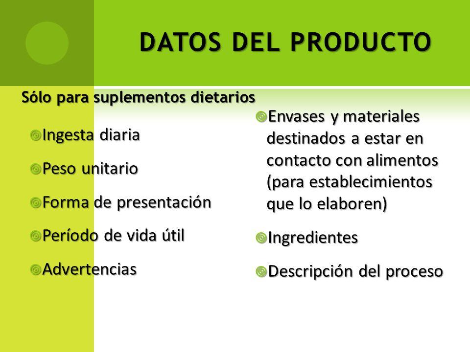 DATOS DEL PRODUCTO Sólo para suplementos dietarios.