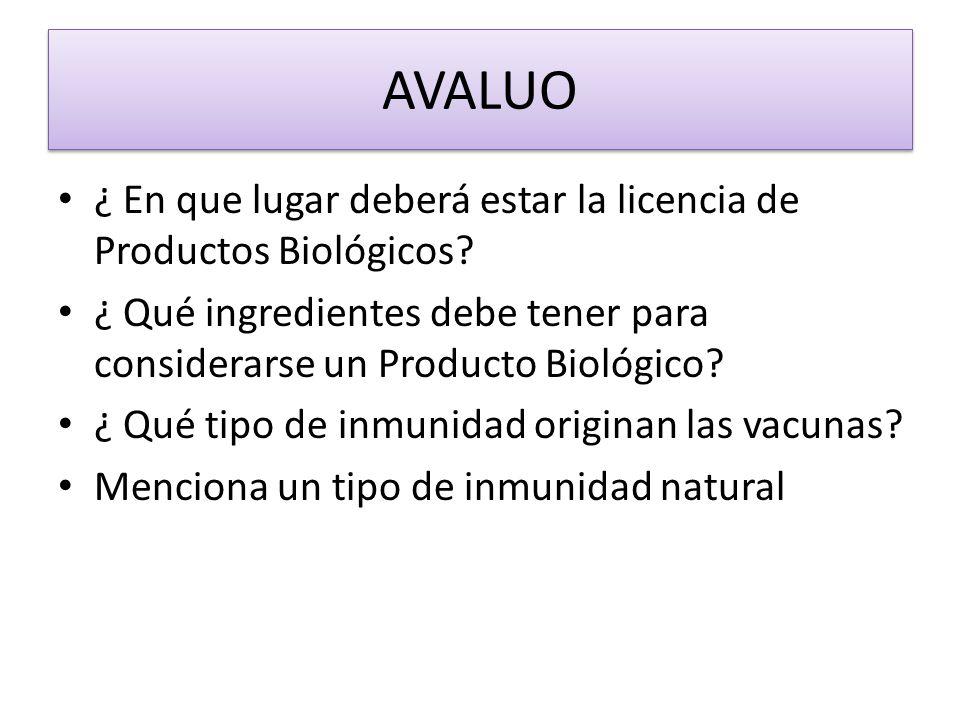 AVALUO ¿ En que lugar deberá estar la licencia de Productos Biológicos ¿ Qué ingredientes debe tener para considerarse un Producto Biológico