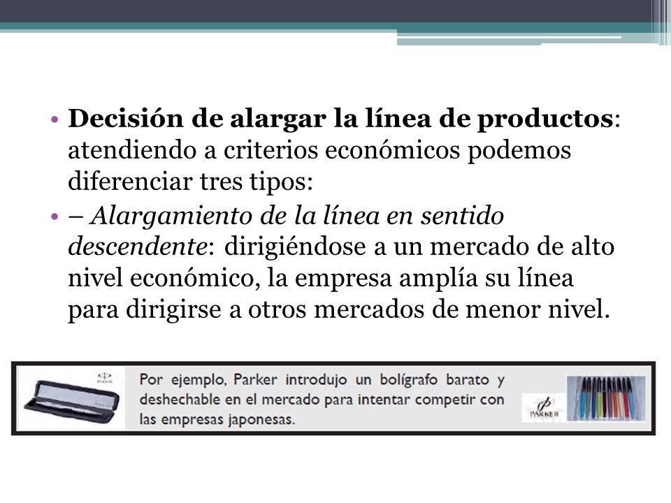Decisión de alargar la línea de productos: atendiendo a criterios económicos podemos diferenciar tres tipos: