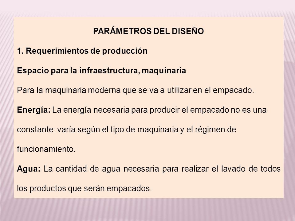 PARÁMETROS DEL DISEÑO 1. Requerimientos de producción. Espacio para la infraestructura, maquinaria.