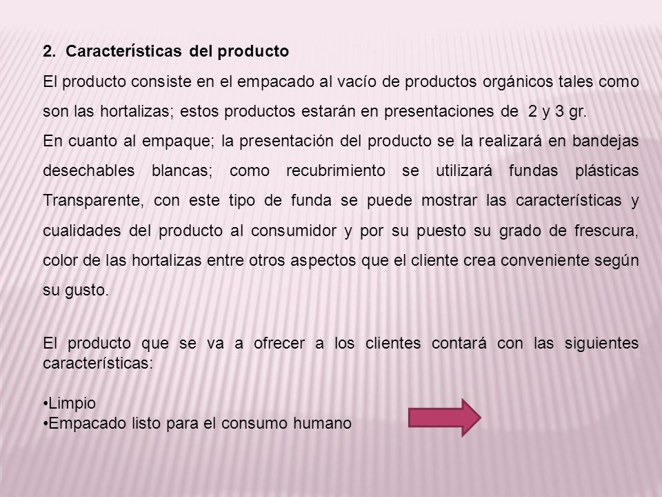 2. Características del producto