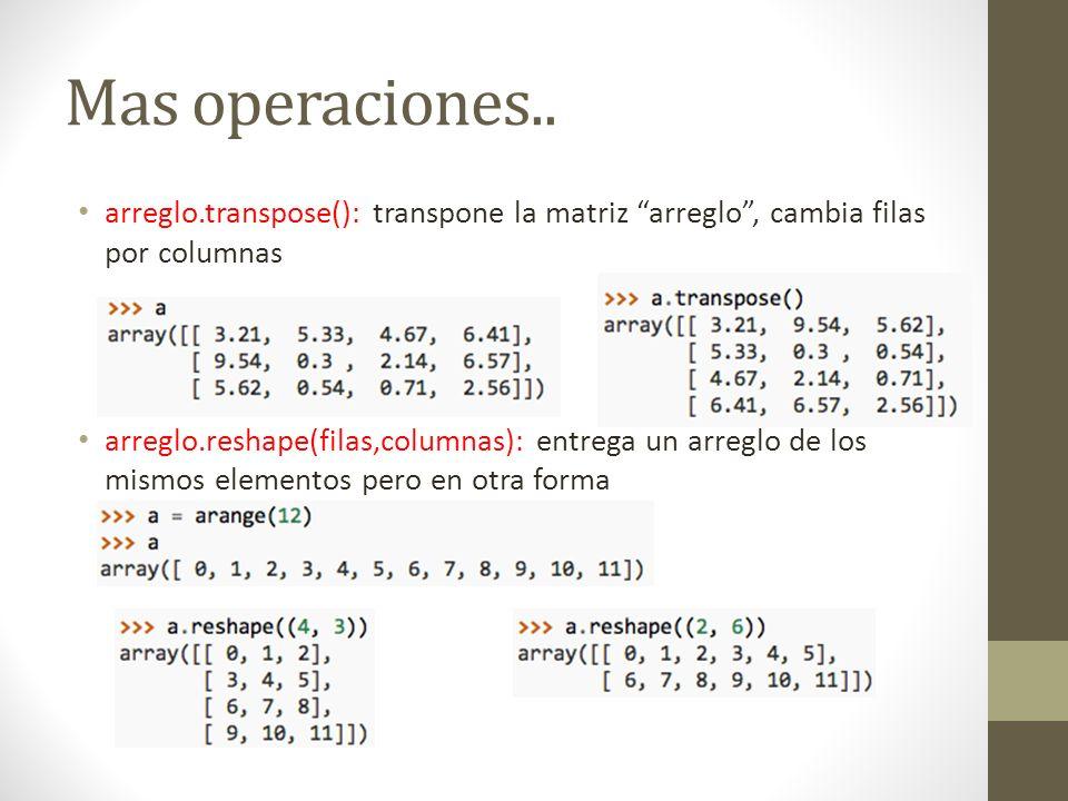 Mas operaciones.. arreglo.transpose(): transpone la matriz arreglo , cambia filas por columnas.