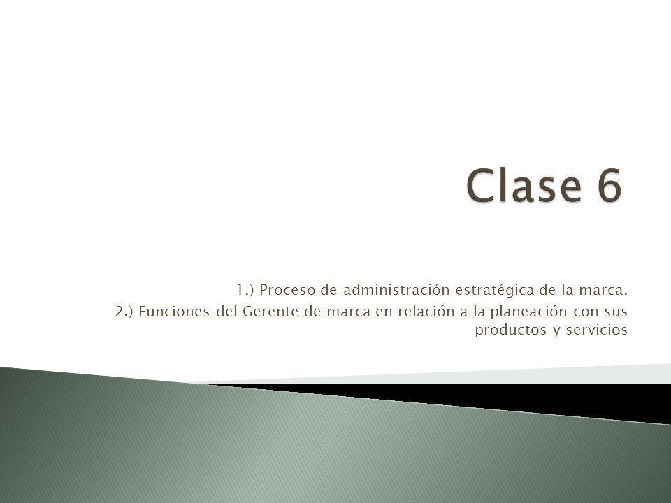 Clase 6 1.) Proceso de administración estratégica de la marca.