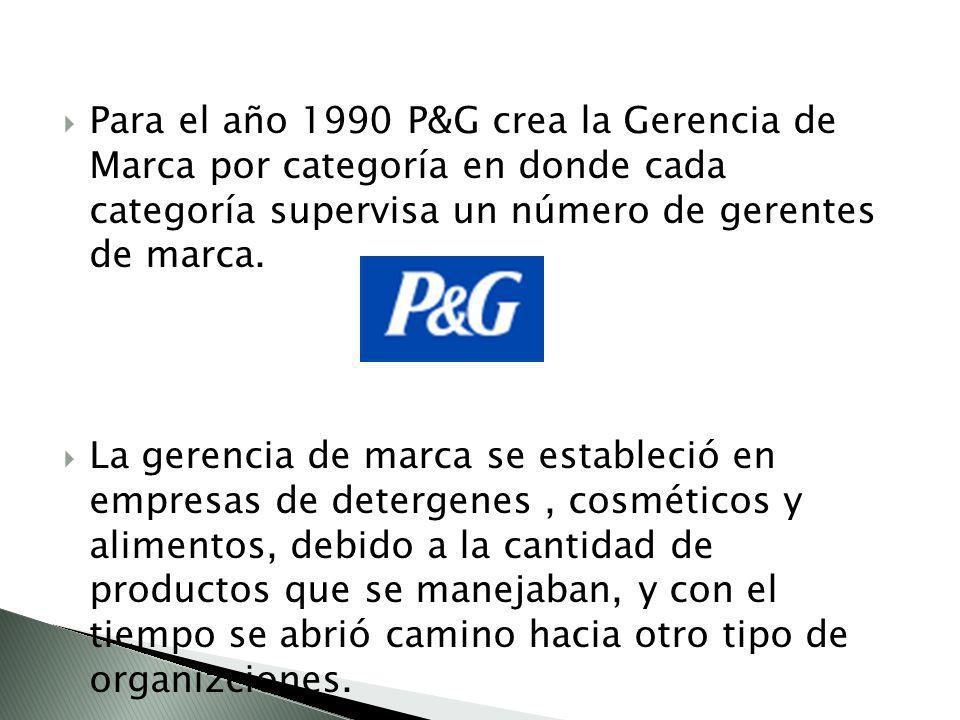 Para el año 1990 P&G crea la Gerencia de Marca por categoría en donde cada categoría supervisa un número de gerentes de marca.