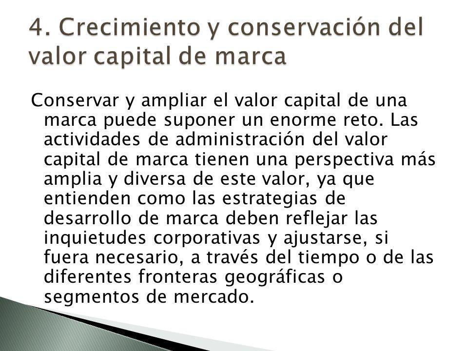 4. Crecimiento y conservación del valor capital de marca