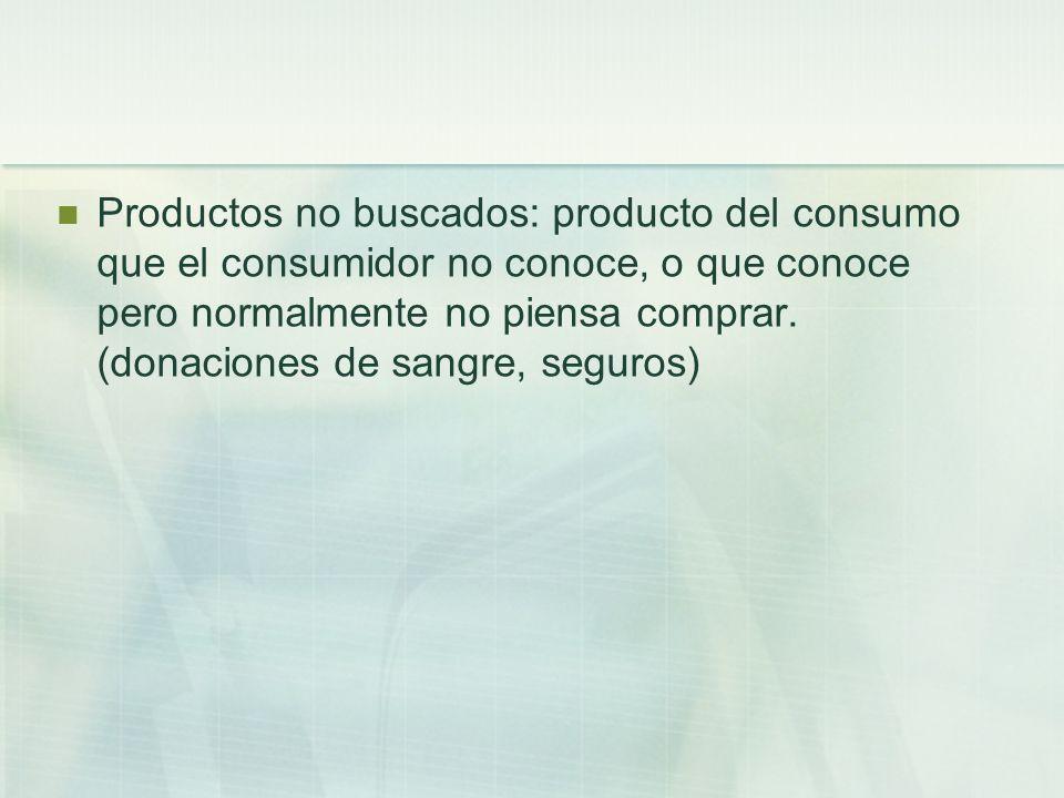 Productos no buscados: producto del consumo que el consumidor no conoce, o que conoce pero normalmente no piensa comprar.