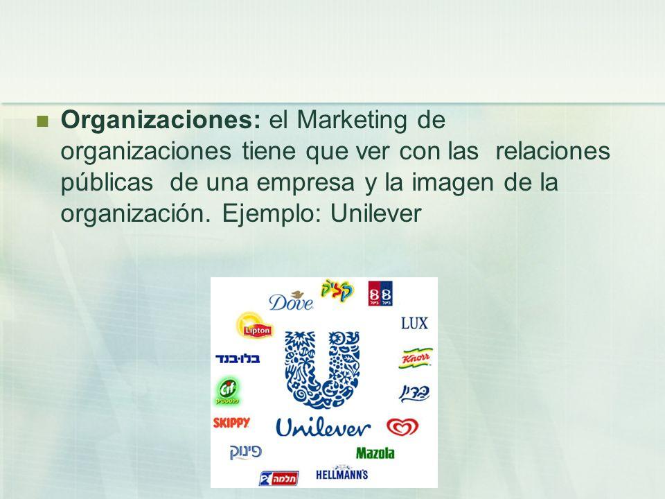 Organizaciones: el Marketing de organizaciones tiene que ver con las relaciones públicas de una empresa y la imagen de la organización.