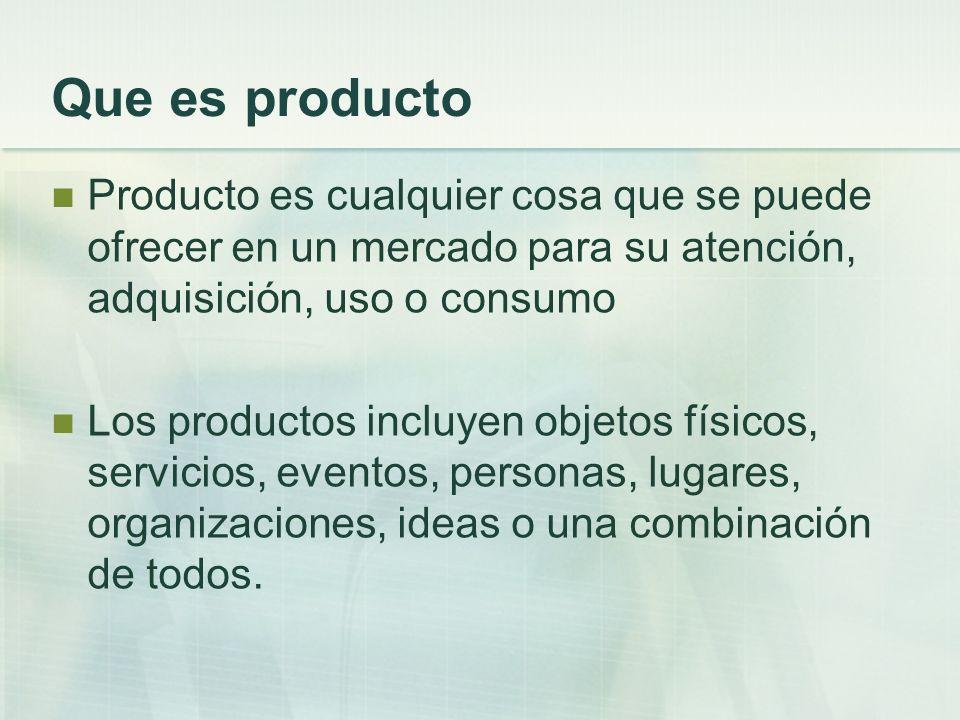 Que es producto Producto es cualquier cosa que se puede ofrecer en un mercado para su atención, adquisición, uso o consumo.