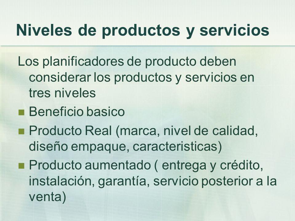 Niveles de productos y servicios