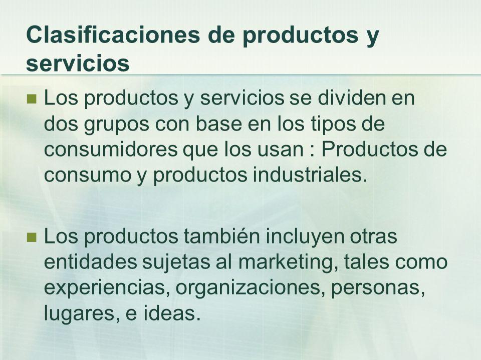 Clasificaciones de productos y servicios