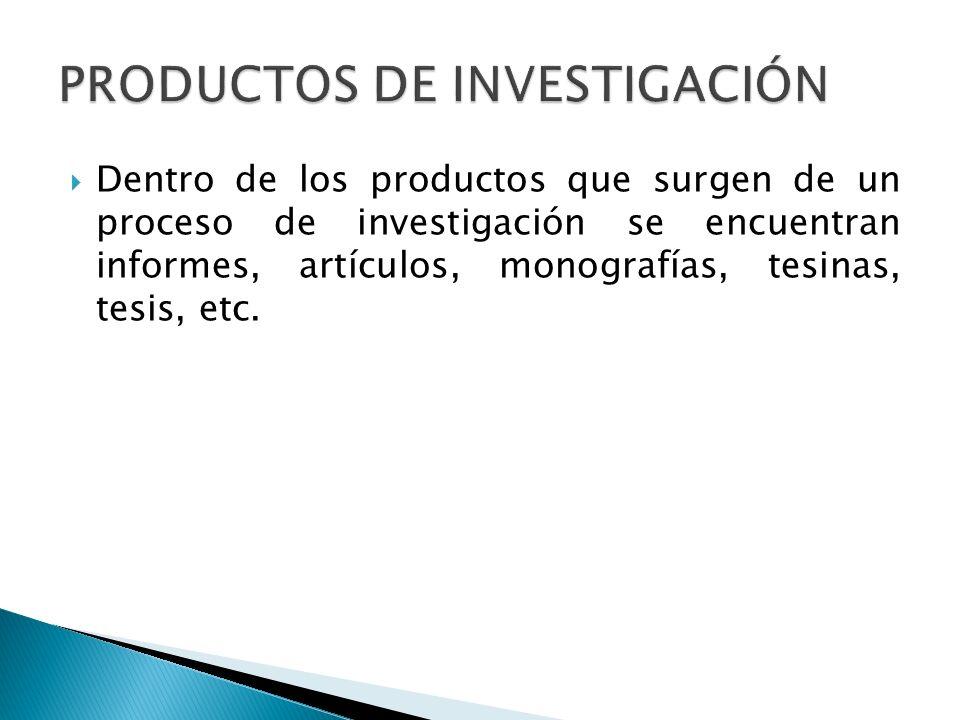 PRODUCTOS DE INVESTIGACIÓN