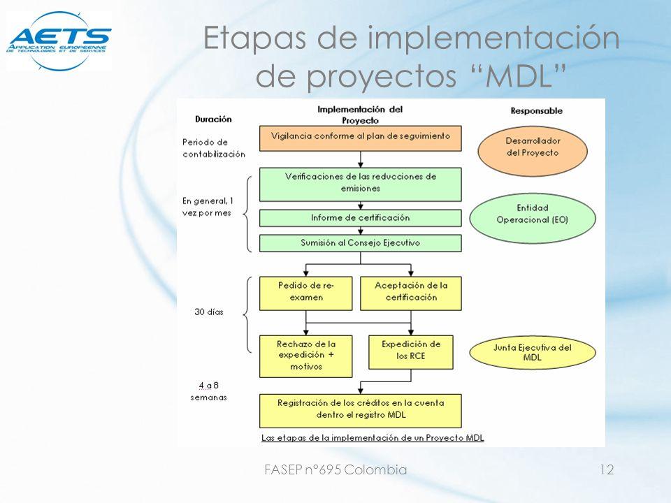 Etapas de implementación de proyectos MDL
