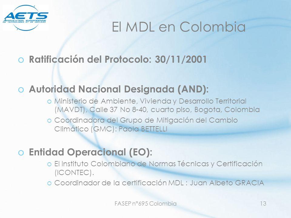 El MDL en Colombia Ratificación del Protocolo: 30/11/2001