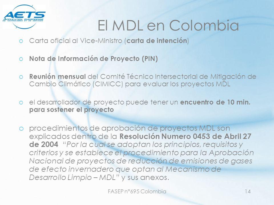 El MDL en Colombia Carta oficial al Vice-Ministro (carta de intención) Nota de Información de Proyecto (PIN)