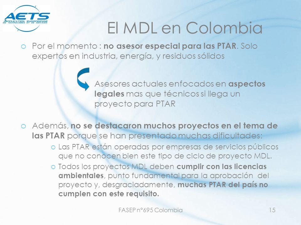 El MDL en Colombia Por el momento : no asesor especial para las PTAR. Solo expertos en industria, energía, y residuos sólidos.