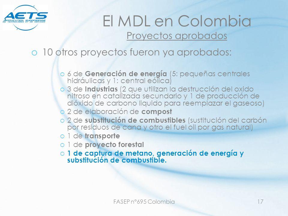 El MDL en Colombia Proyectos aprobados