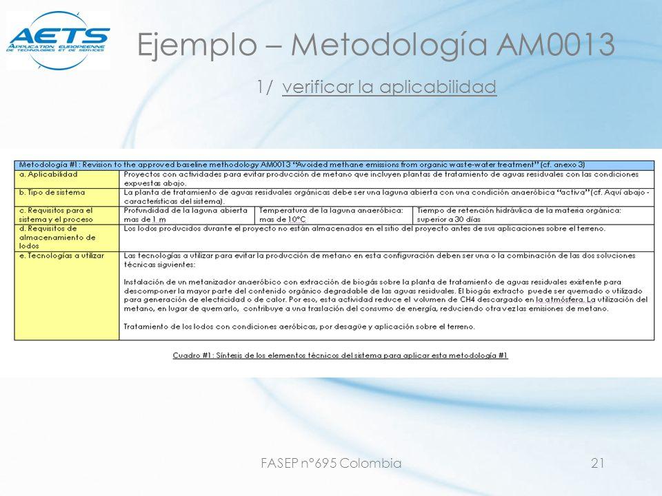 Ejemplo – Metodología AM0013 1/ verificar la aplicabilidad