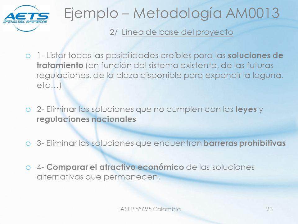 Ejemplo – Metodología AM0013 2/ Línea de base del proyecto