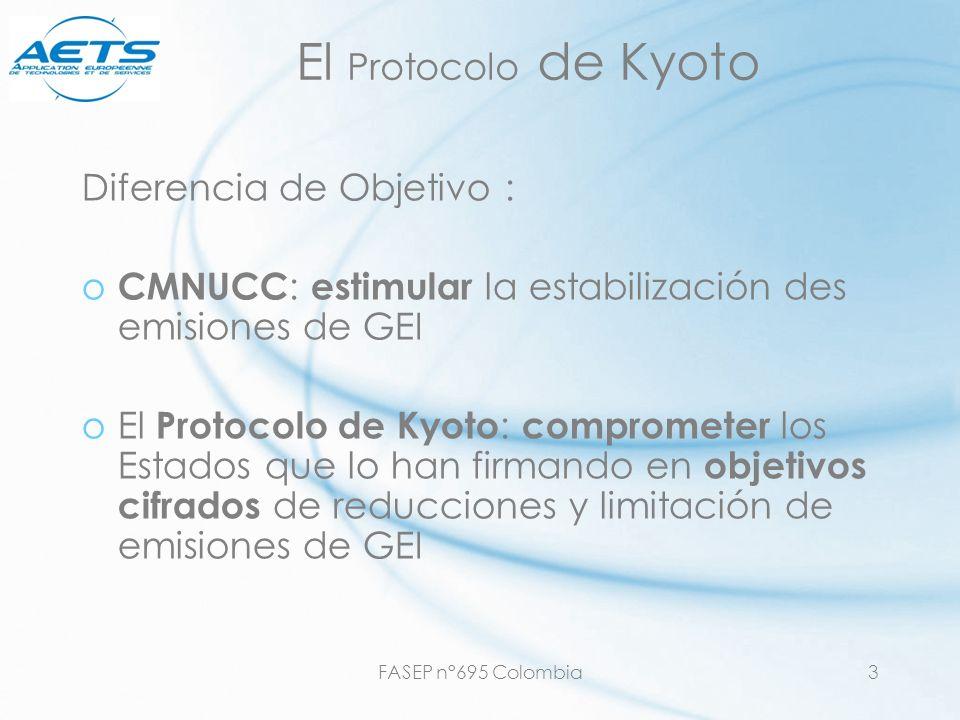 El Protocolo de Kyoto Diferencia de Objetivo :
