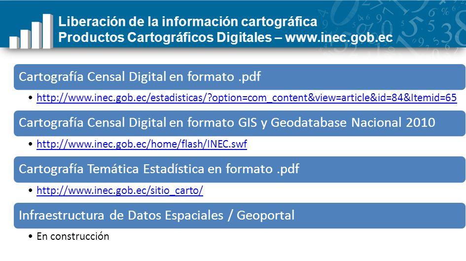 Liberación de la información cartográfica Productos Cartográficos Digitales – www.inec.gob.ec