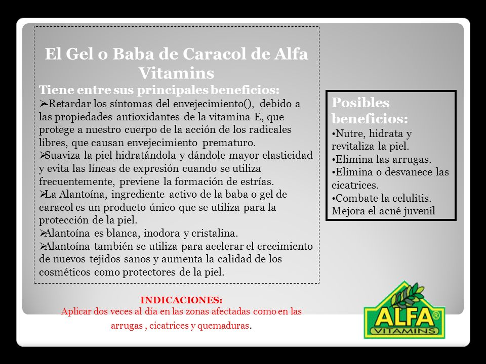 El Gel o Baba de Caracol de Alfa Vitamins