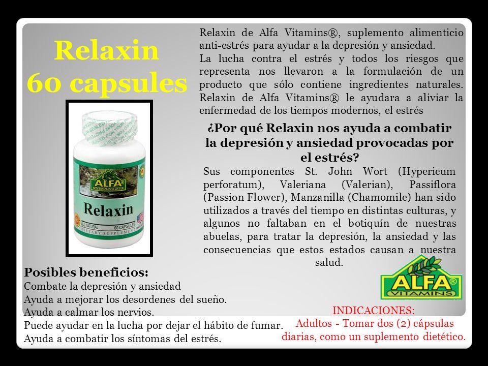 Relaxin de Alfa Vitamins®, suplemento alimenticio anti-estrés para ayudar a la depresión y ansiedad.