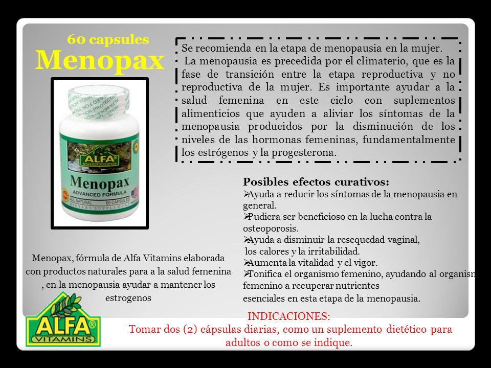 60 capsules Menopax. Se recomienda en la etapa de menopausia en la mujer.