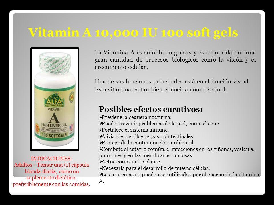 Vitamin A 10,000 IU 100 soft gels Posibles efectos curativos: