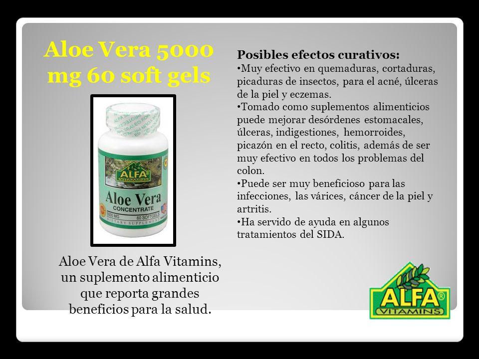 Aloe Vera 5000 mg 60 soft gels Posibles efectos curativos: