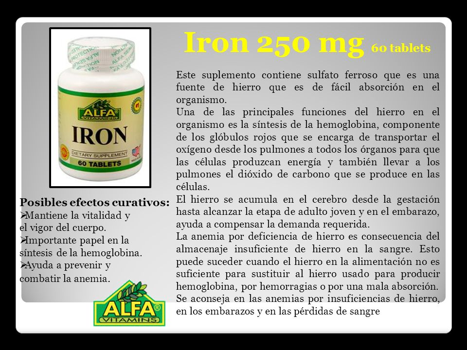 Iron 250 mg 60 tablets Posibles efectos curativos:
