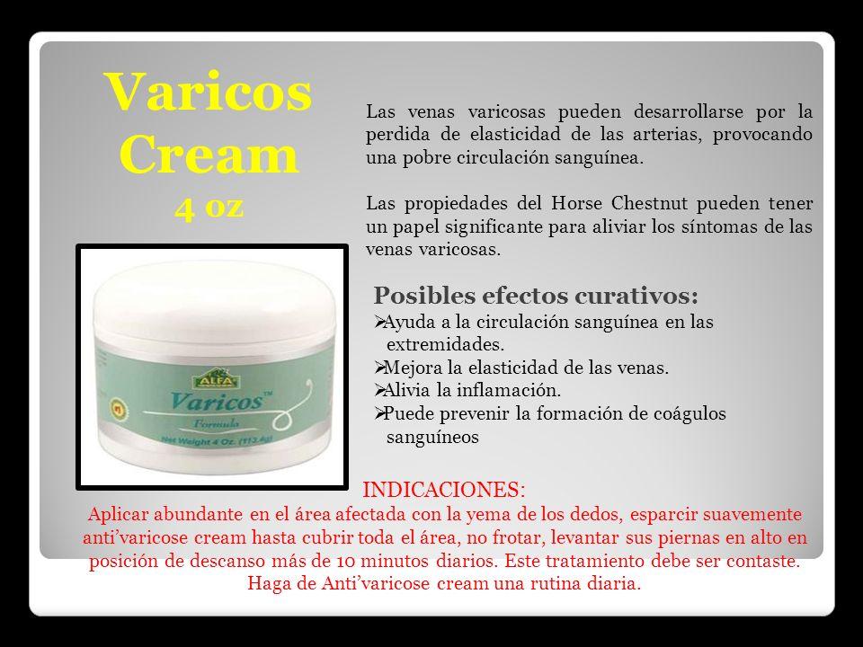 Varicos Cream 4 oz Posibles efectos curativos: INDICACIONES: