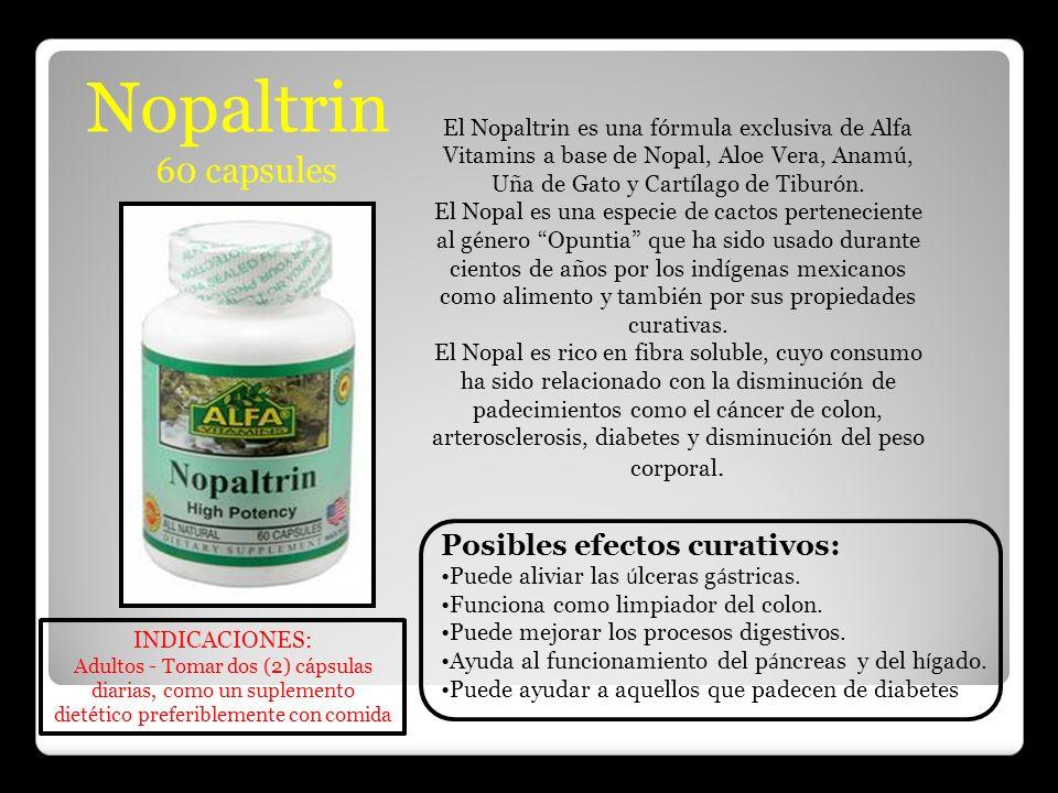 Nopaltrin 60 capsules Posibles efectos curativos: