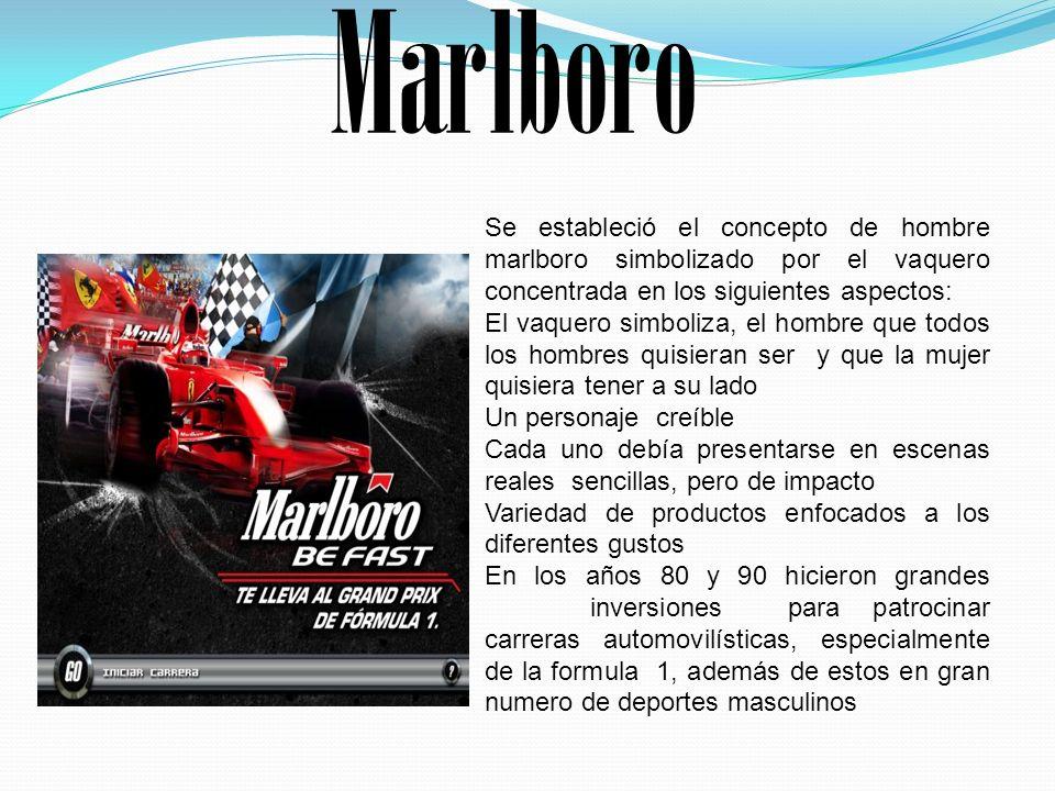 Marlboro Se estableció el concepto de hombre marlboro simbolizado por el vaquero concentrada en los siguientes aspectos: