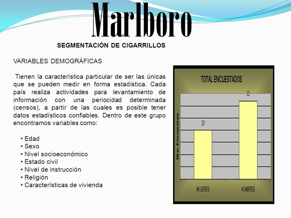 Marlboro SEGMENTACIÓN DE CIGARRILLOS VARIABLES DEMOGRÁFICAS