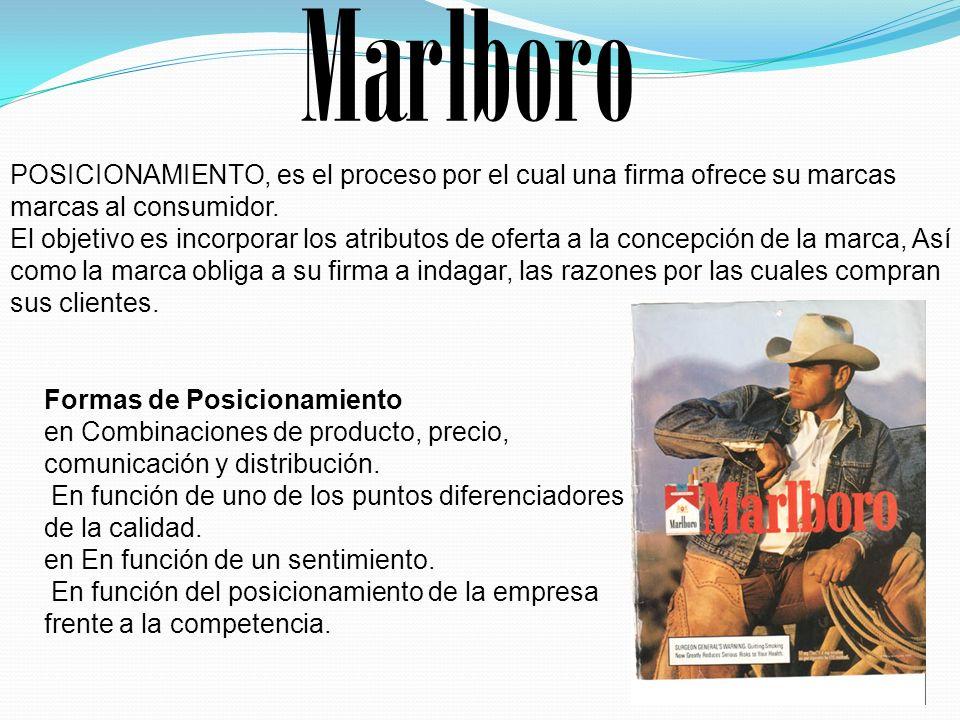 Marlboro POSICIONAMIENTO, es el proceso por el cual una firma ofrece su marcas marcas al consumidor.