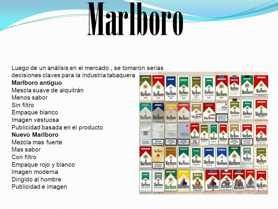 Marlboro Luego de un análisis en el mercado , se tomaron serias decisiones claves para la industria tabaquera.