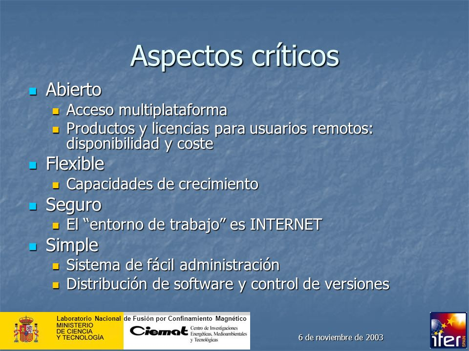 Aspectos críticos Abierto Flexible Seguro Simple