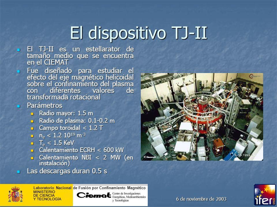 El dispositivo TJ-II El TJ-II es un estellarator de tamaño medio que se encuentra en el CIEMAT.